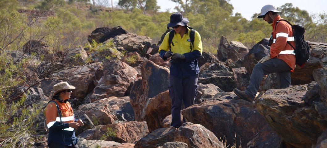 Ed surveying amongst the rocks