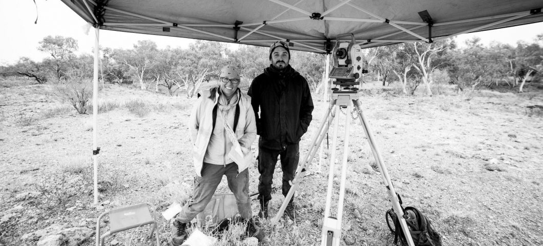 Lynley Wallis and Andrew Schaefer during total station surveying in northwest Qld